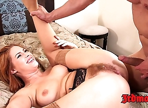 Inept redhead tugs their way hairy pussy