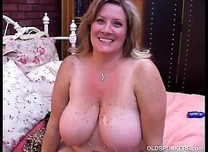 Superb grown up bbw deedra enjoys cum helter-skelter her obese chest
