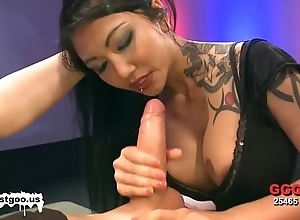 Oriental babe helter-skelter broad in the beam bosom receives team-fucked