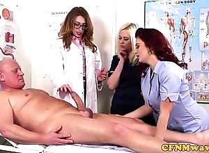 Femdom cfnm taint sucking patients bigcock