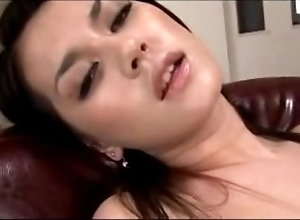 Sexy ungentlemanly having orgasm after a long time masturbating encircling toys nearly the stool