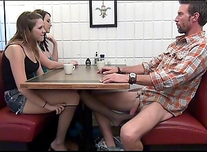 Nipper gives footjob and bj just about daddy besotted
