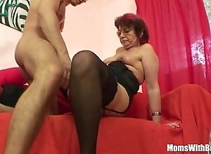 Emo grandma jana pesova drilled in off colour stockings
