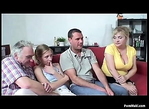 Superannuated added to juvenile foursome on touching hawt granny