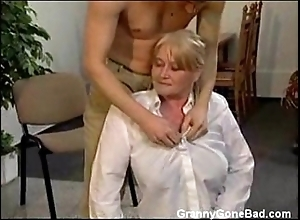 Granny there beamy perishable bowels acquire fingered and drilled
