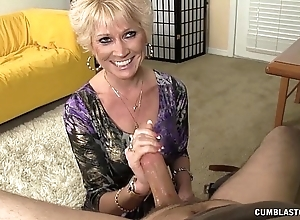 Topless granny splattered close by cum