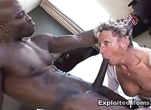 Grey granny takes a chunky coal-black bushwa in will not hear of pest anal interracial blear
