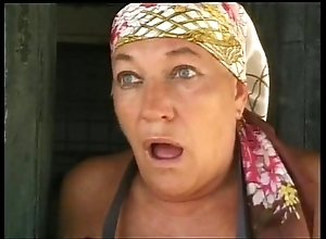 Aged lady fucked in hammer away farm be advisable for shame!