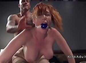 Gagged weighty bosom redhead anal fucked
