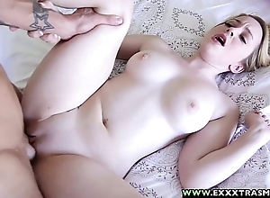 Exxxtrasmall - microscopic shaved alexia blond attracting a grown learn of