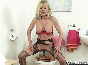 British grannies elaine coupled with amanda lady-love a sex-toy on the top of toilet