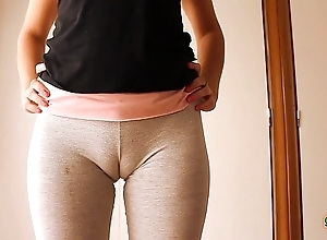 Heavy cameltoe legal age teenager all round yoga pants, stretching added to busy out!